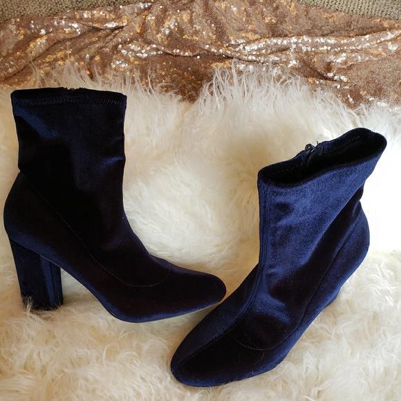 adbe8cab40e Steve Madden Shoes - Steve Madden Editt Velvet Heeled Boots - Navy